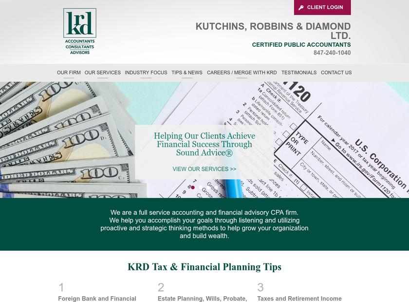 Kutchins Robbins & Diamond Ltd homepage screenshot