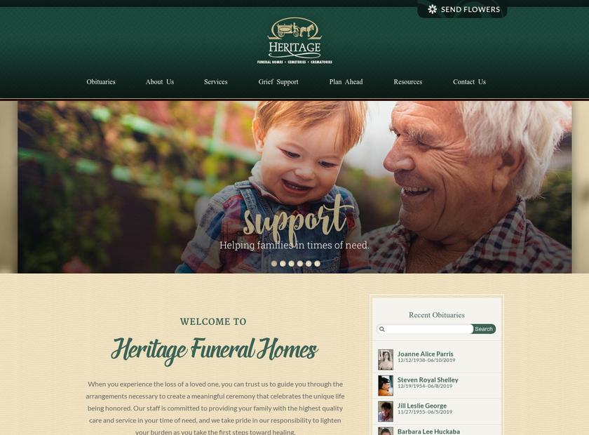 Heritage Memorial Park homepage screenshot