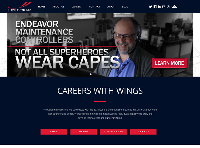Endeavor Air Inc homepage screenshot