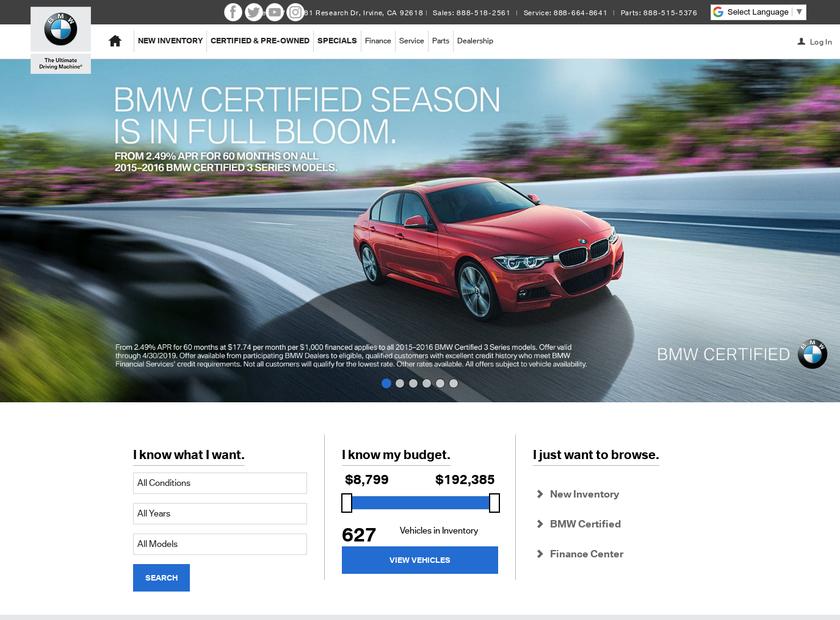 Irvine BMW Company homepage screenshot