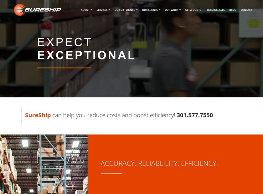 SureShipOnline Inc homepage screenshot