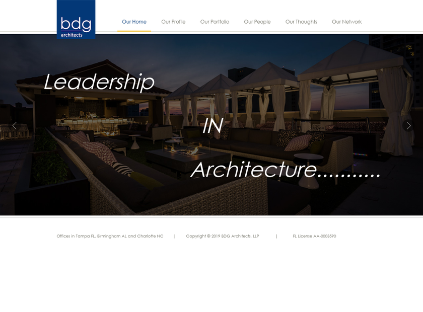 BDG Architects LLP homepage screenshot