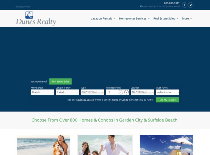 Dunes Realty homepage screenshot