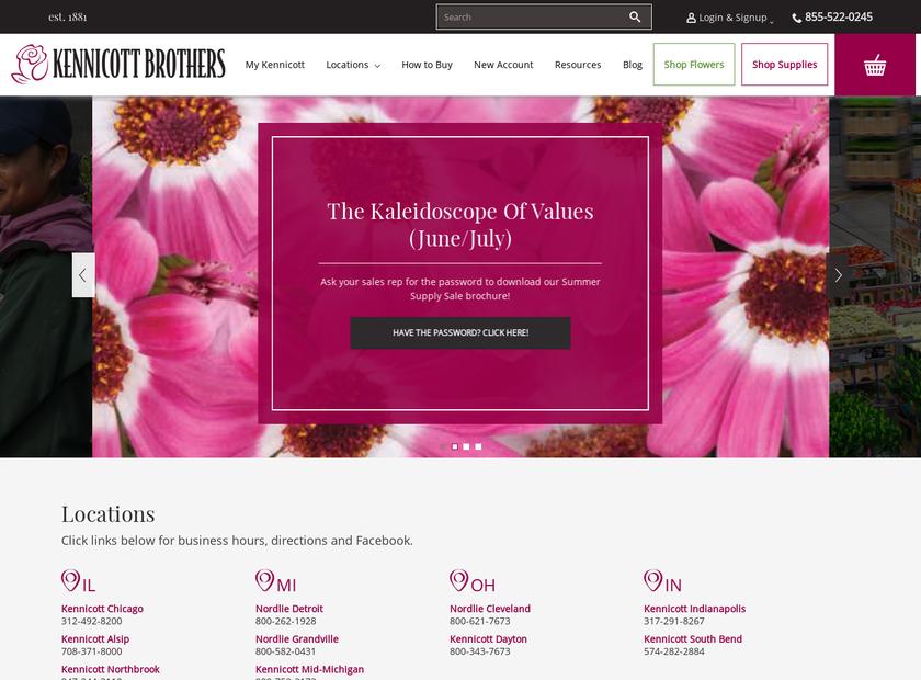 Kennicott Brothers Company homepage screenshot