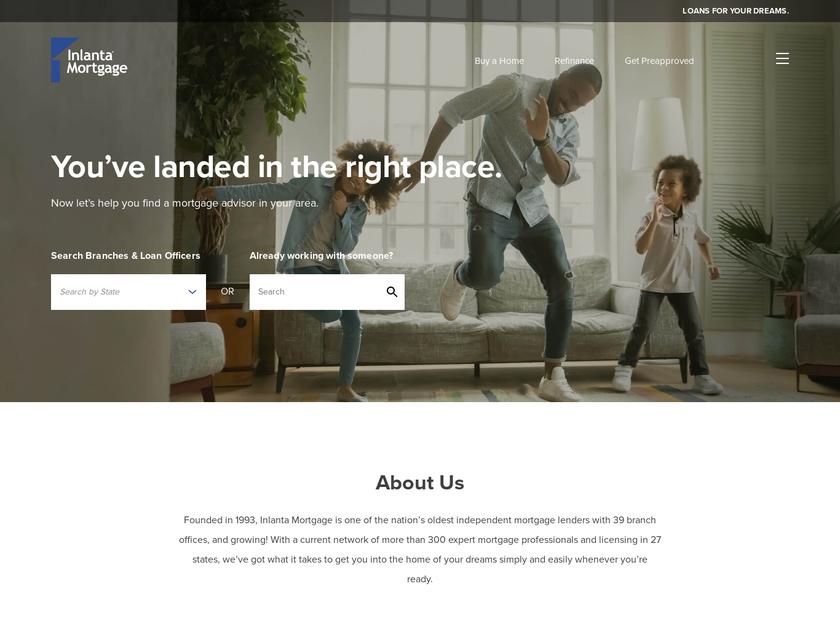 Inlanta Mortgage Inc homepage screenshot
