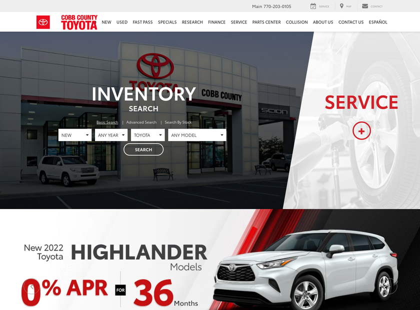 Cobb County Toyota homepage screenshot