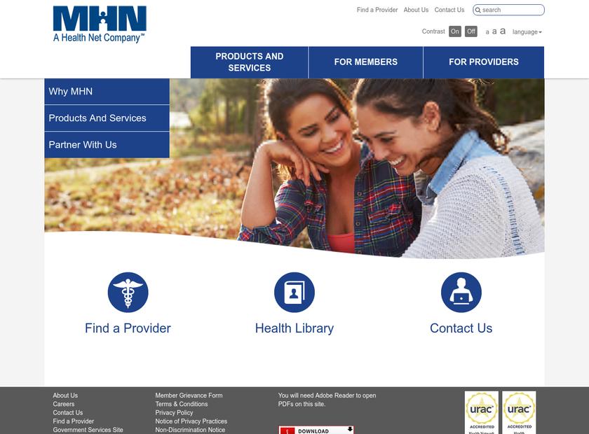 Managed Health Network , Inc. homepage screenshot