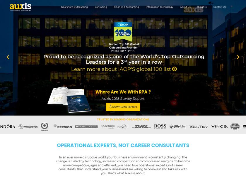 Auxis , Inc. homepage screenshot