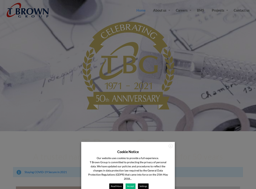 T Brown Group Limited homepage screenshot
