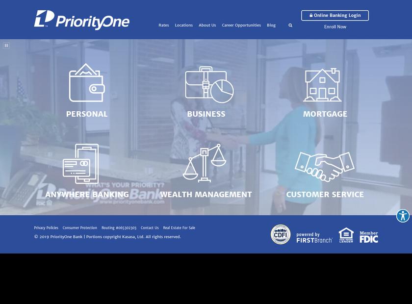 PriorityOne Bank homepage screenshot