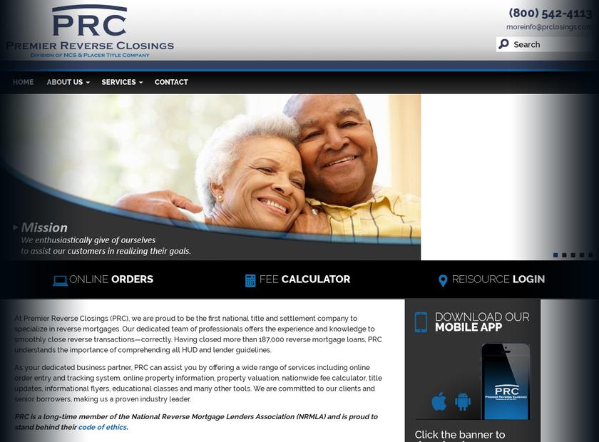 Premier Reverse Closings homepage screenshot
