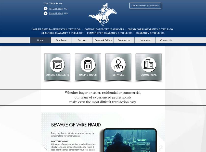 North Dakota Guaranty and Title Company homepage screenshot