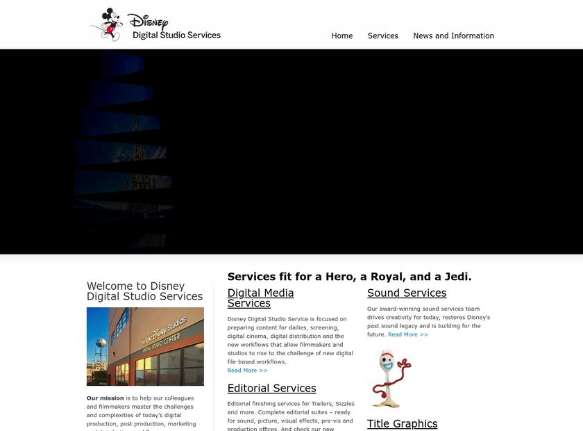Disney Digital Studio Services homepage screenshot