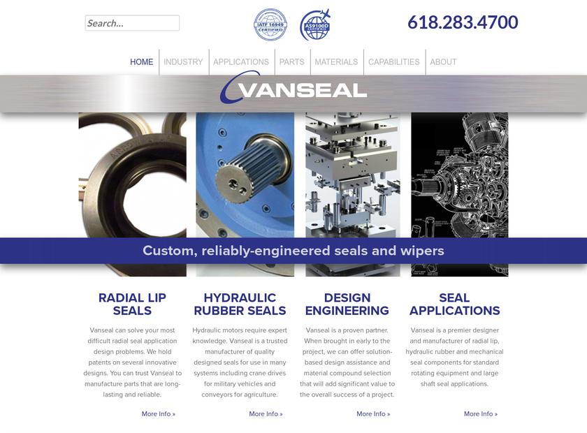 Vanseal Corporation homepage screenshot