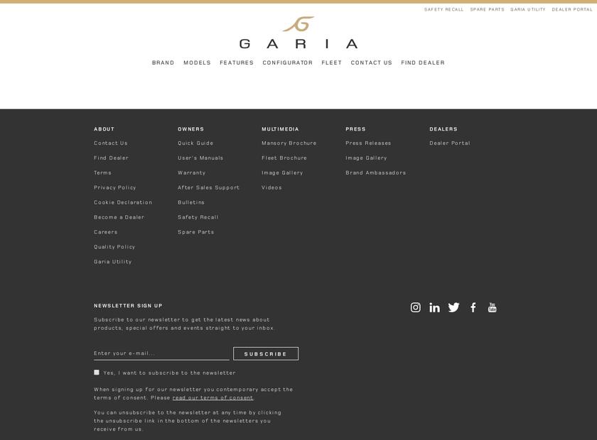 Garia Inc homepage screenshot