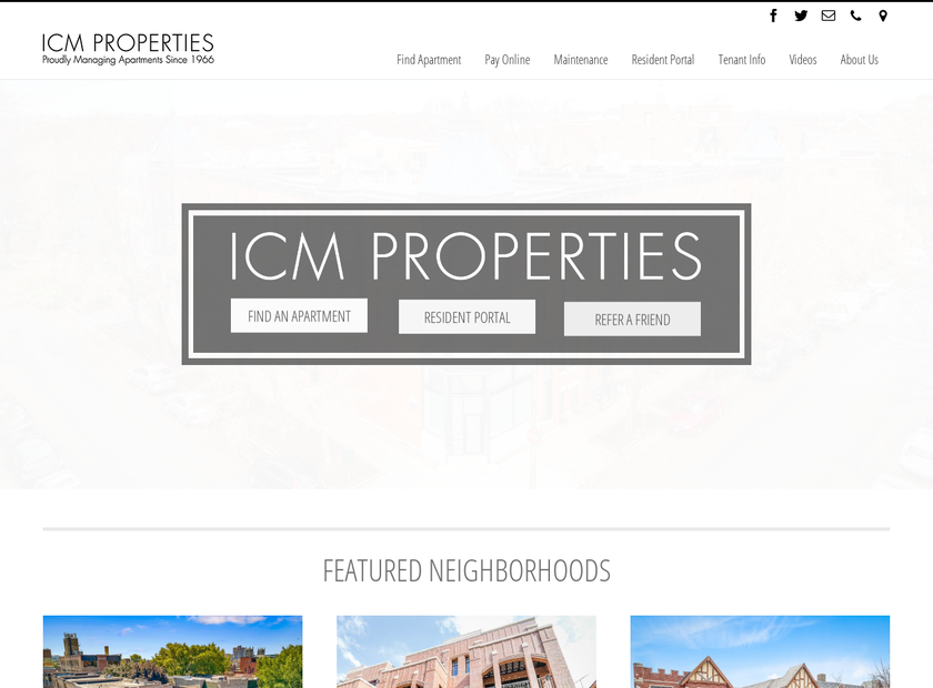 ICM Properties, Inc. homepage screenshot