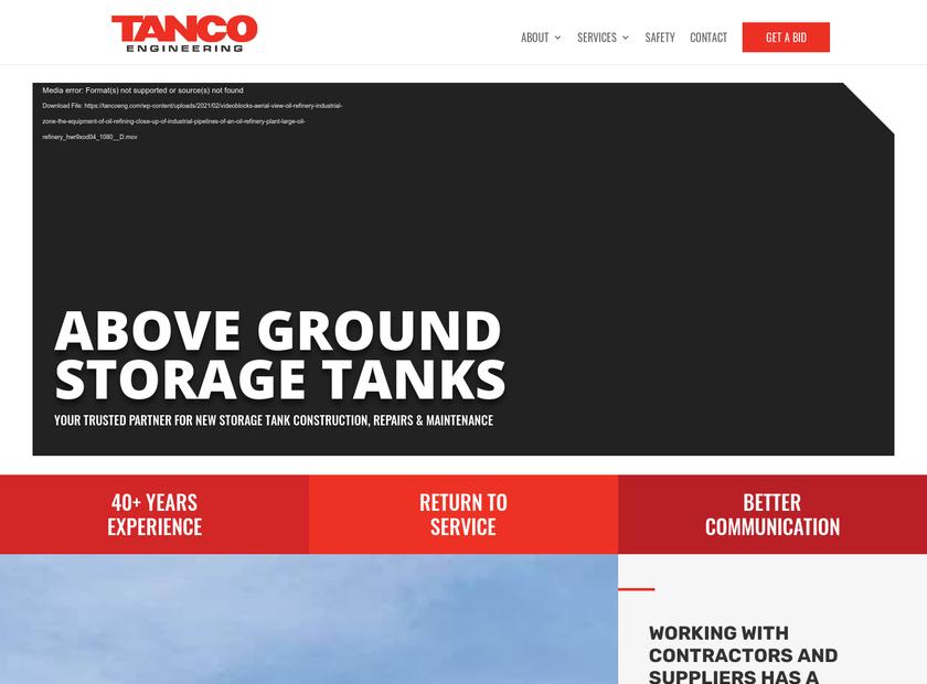 Tanco Engineering Inc homepage screenshot