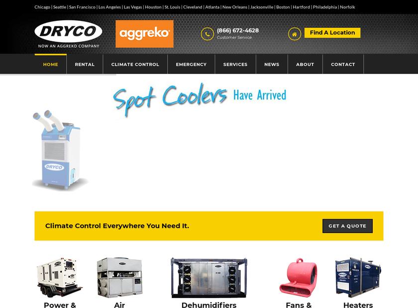 DRYCO homepage screenshot