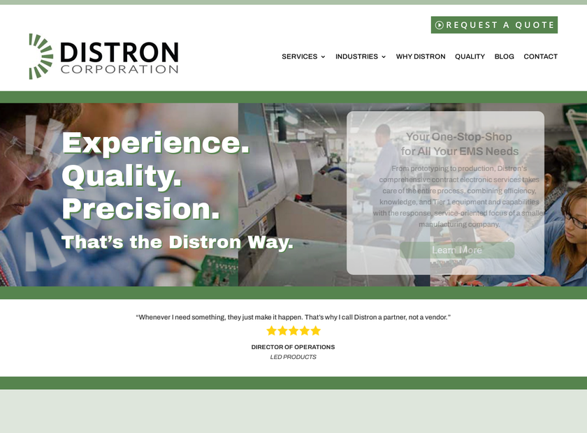 Distron Corporation homepage screenshot