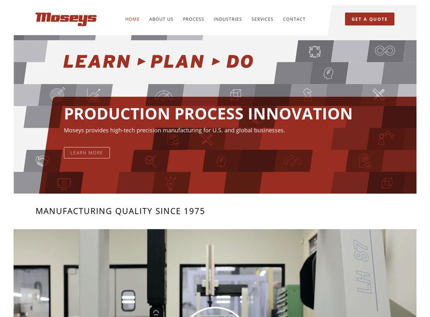 Moseys Production Machinists Inc homepage screenshot