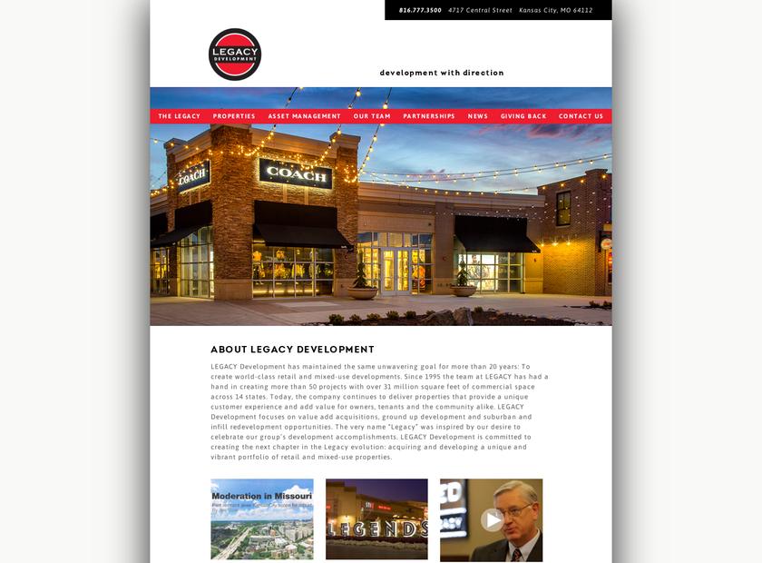LegacyDevelopment.com homepage screenshot