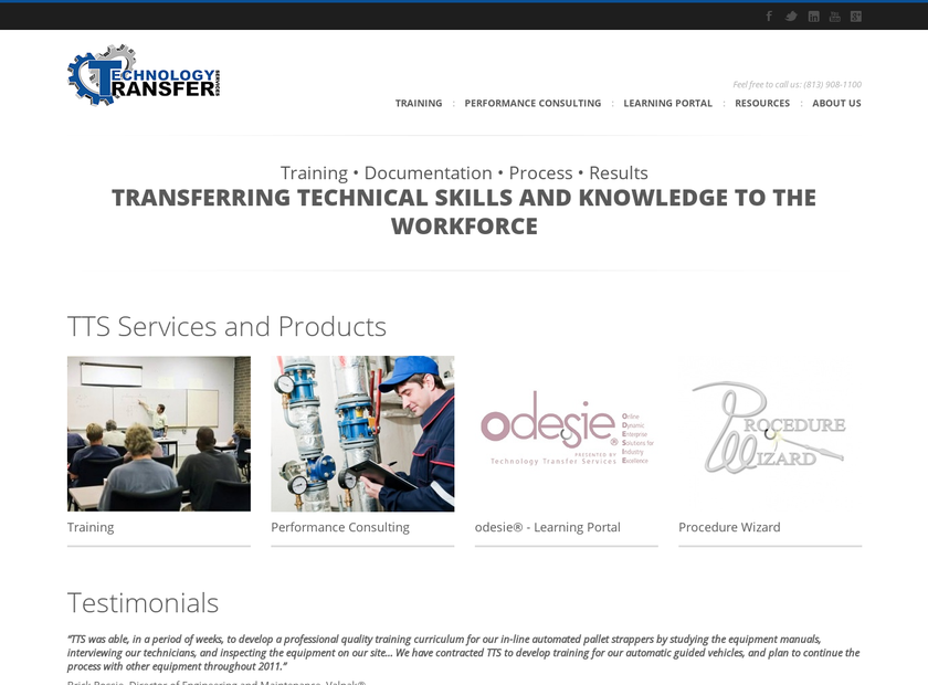 Technology Transfer Services Inc homepage screenshot
