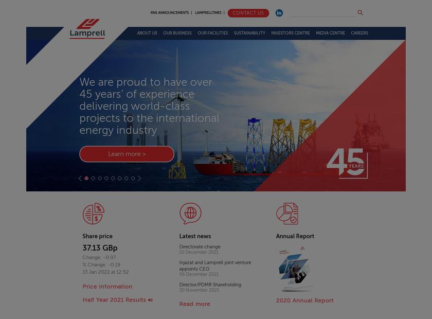 Lamprell plc homepage screenshot