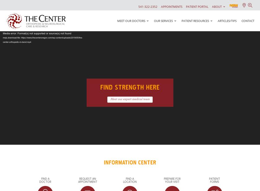 The Center Orthopedic & Neurosurgical Care homepage screenshot