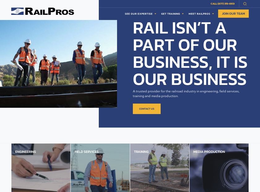 RailPros Inc homepage screenshot