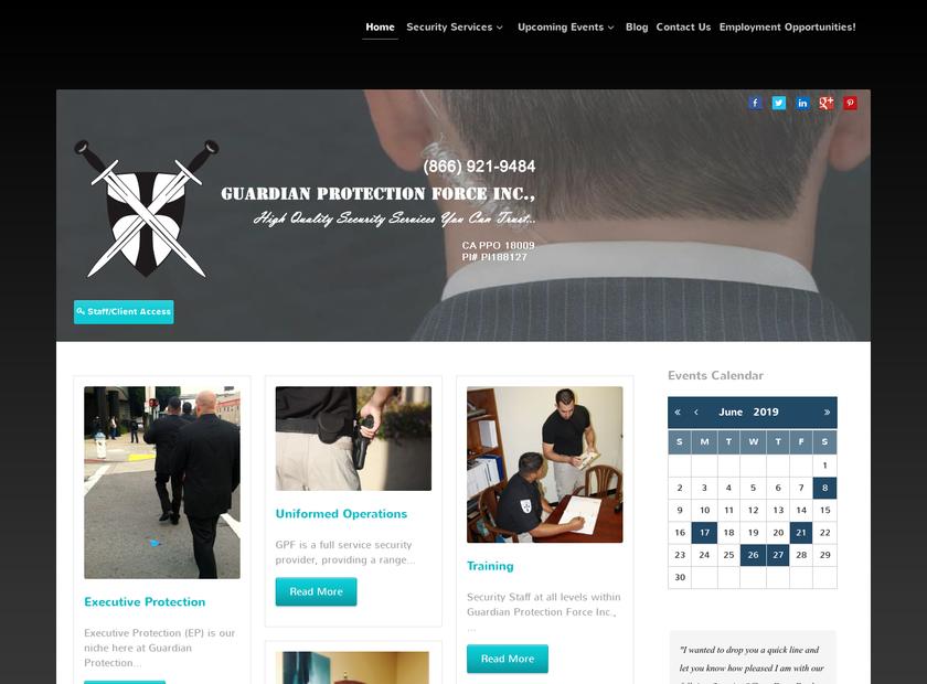 Guardian Protection Force Inc homepage screenshot