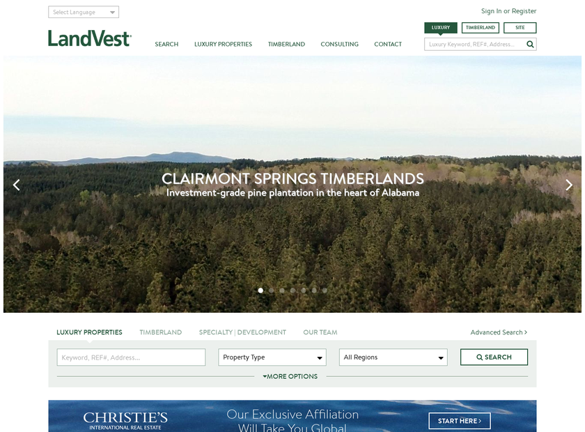 LandVest Inc homepage screenshot