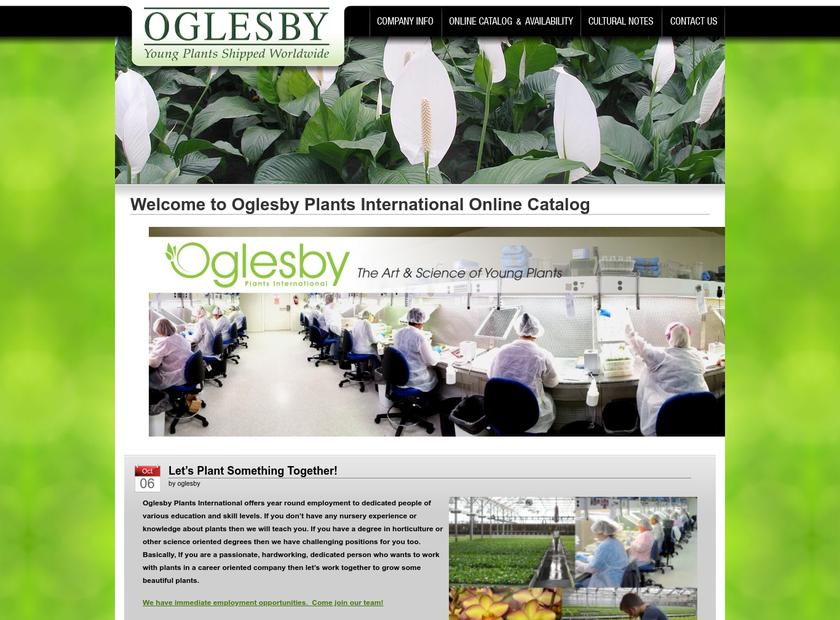 Oglesby Plants International , Inc. homepage screenshot