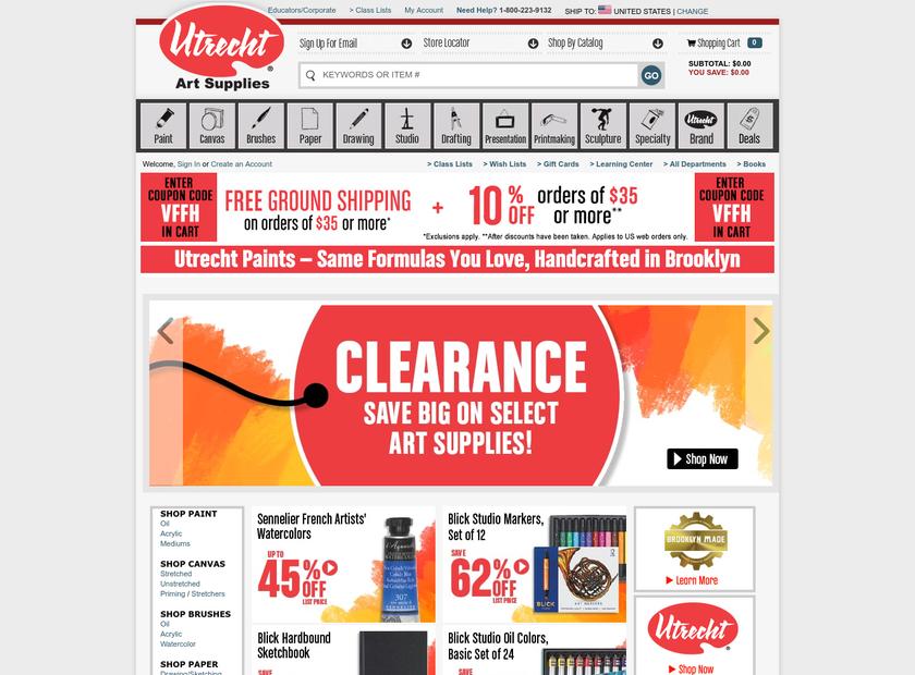 Utrecht Art Supplies homepage screenshot
