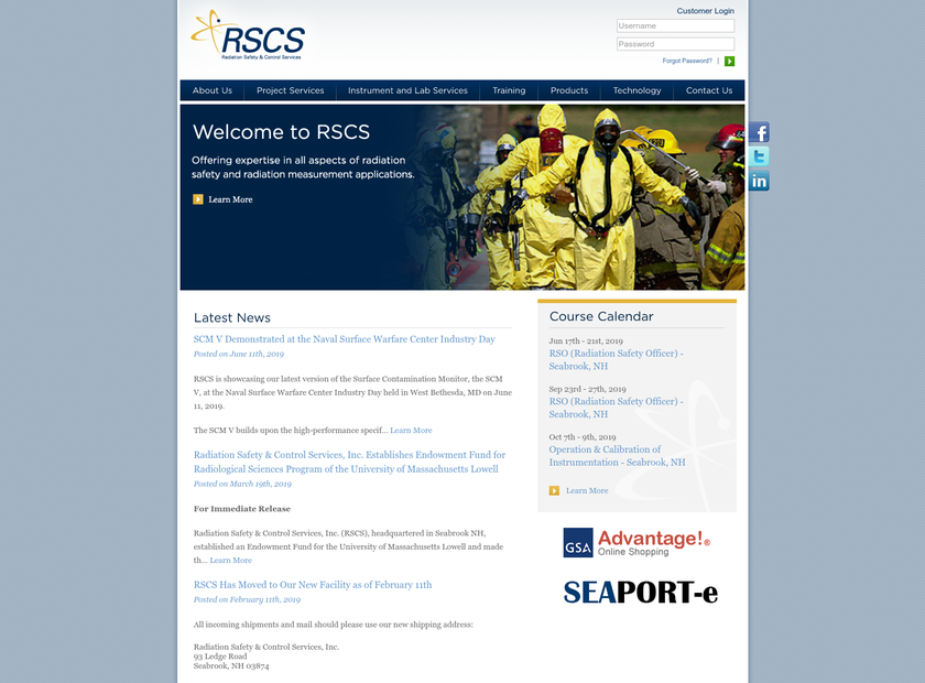 Radiation Safety & Control Services Inc homepage screenshot