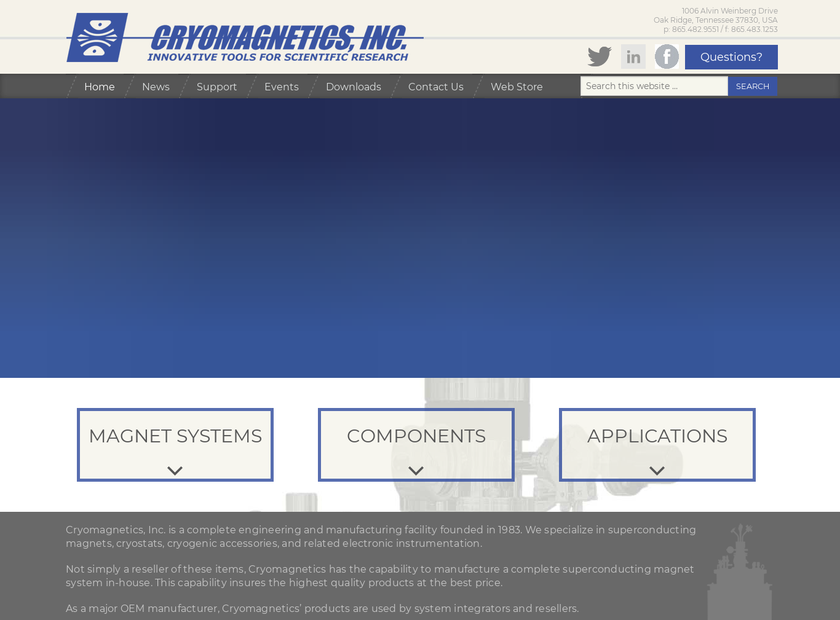 Cryomagnetics Inc homepage screenshot