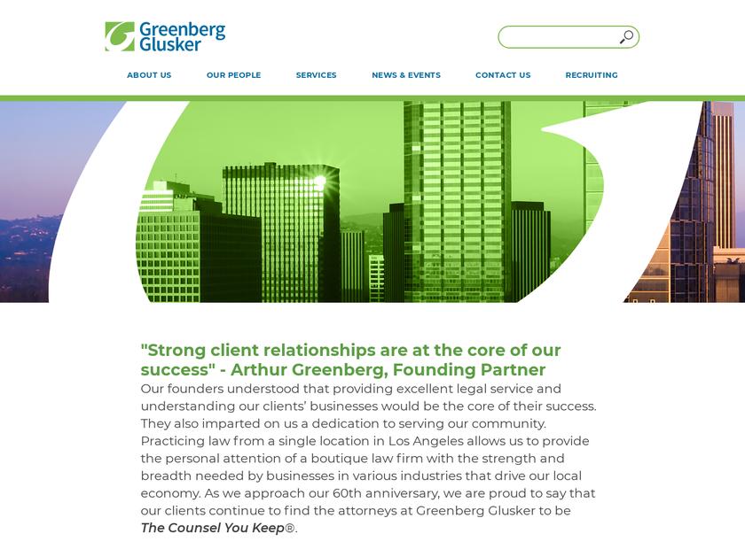 Greenberg Glusker LLP homepage screenshot