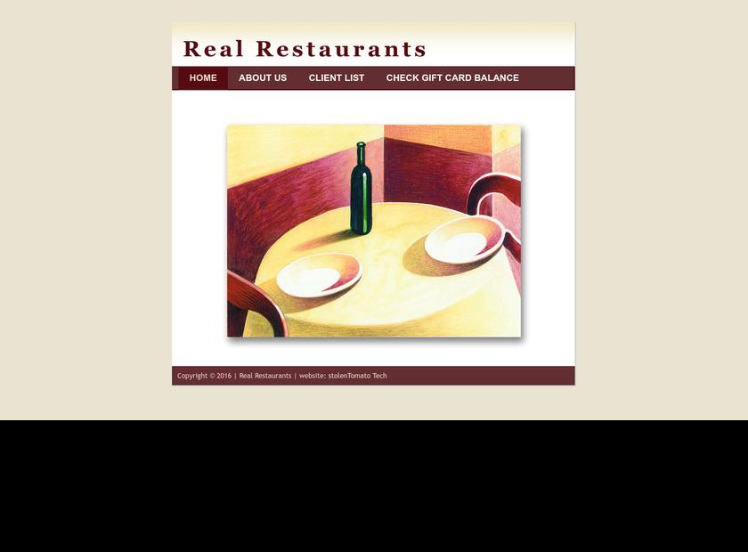 Real Restaurants Inc. homepage screenshot