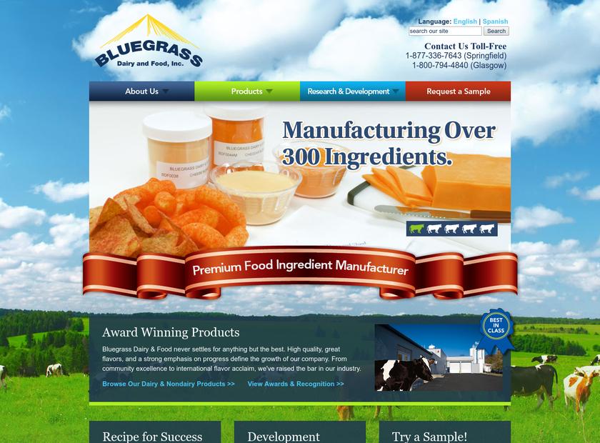 Bluegrass Dairy & Food LLC homepage screenshot