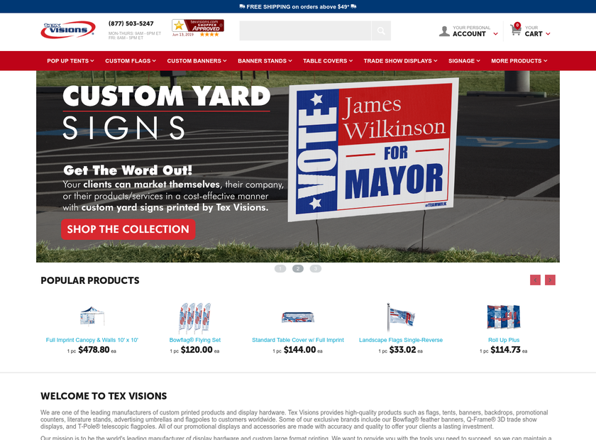 Tex Visions LLC homepage screenshot
