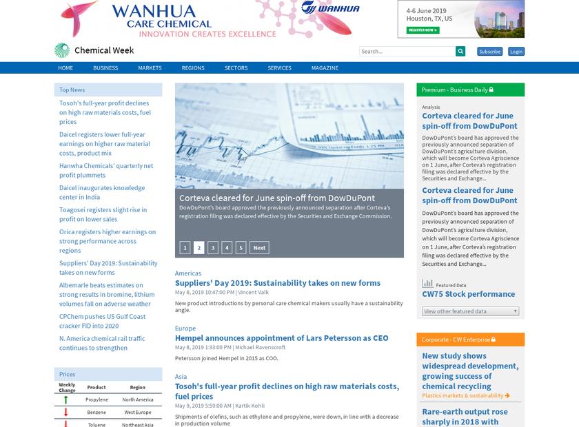Chemical Week homepage screenshot