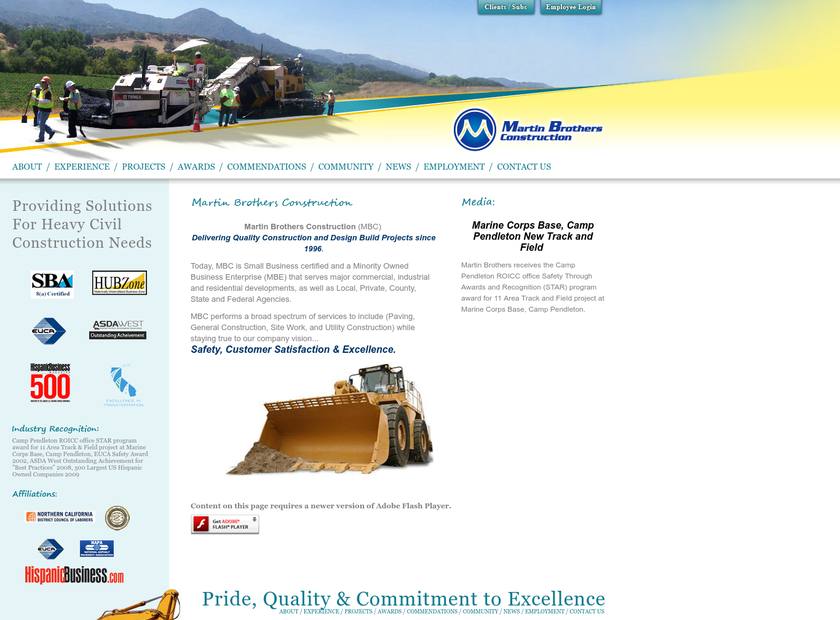 Martin Brothers Construction Inc homepage screenshot