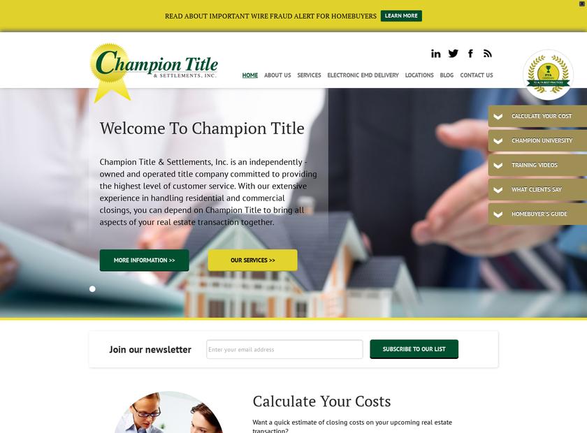 Champion Title & Settlements Inc homepage screenshot