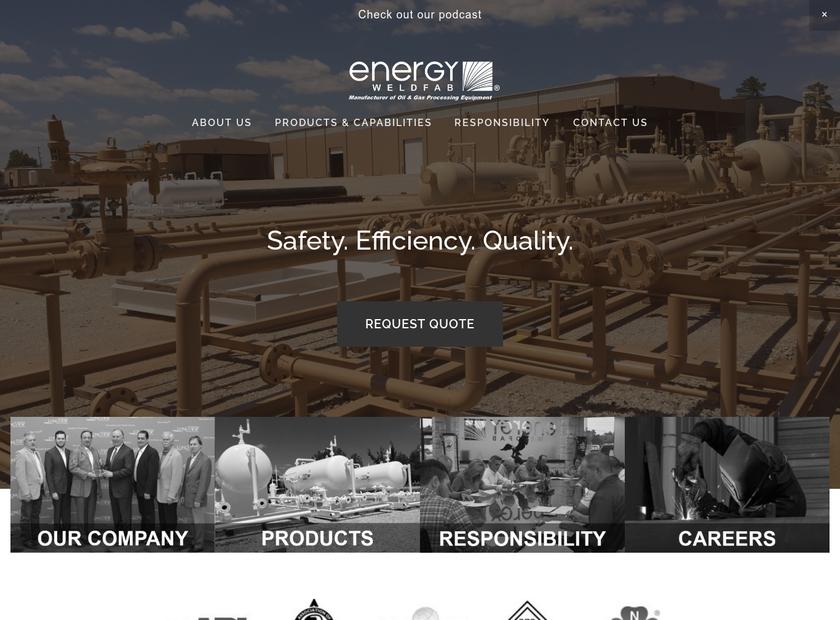 Energy Weldfab Inc homepage screenshot