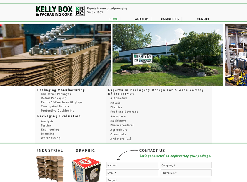 Kelly Box & Packaging Corp homepage screenshot