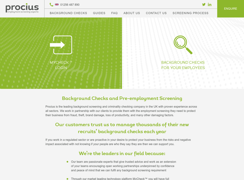 Procius Limited homepage screenshot