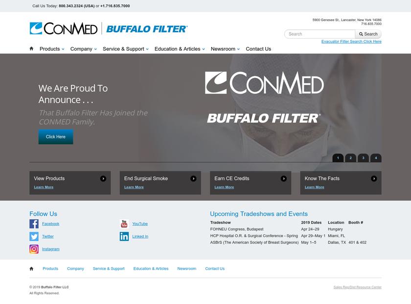 Buffalo Filter  homepage screenshot