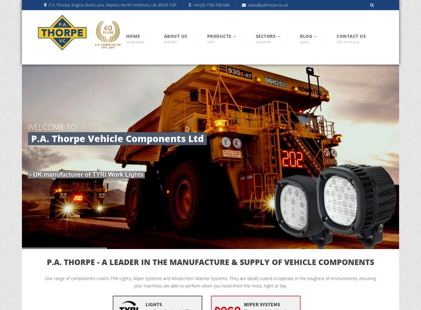 P.A. Thorpe Ltd homepage screenshot
