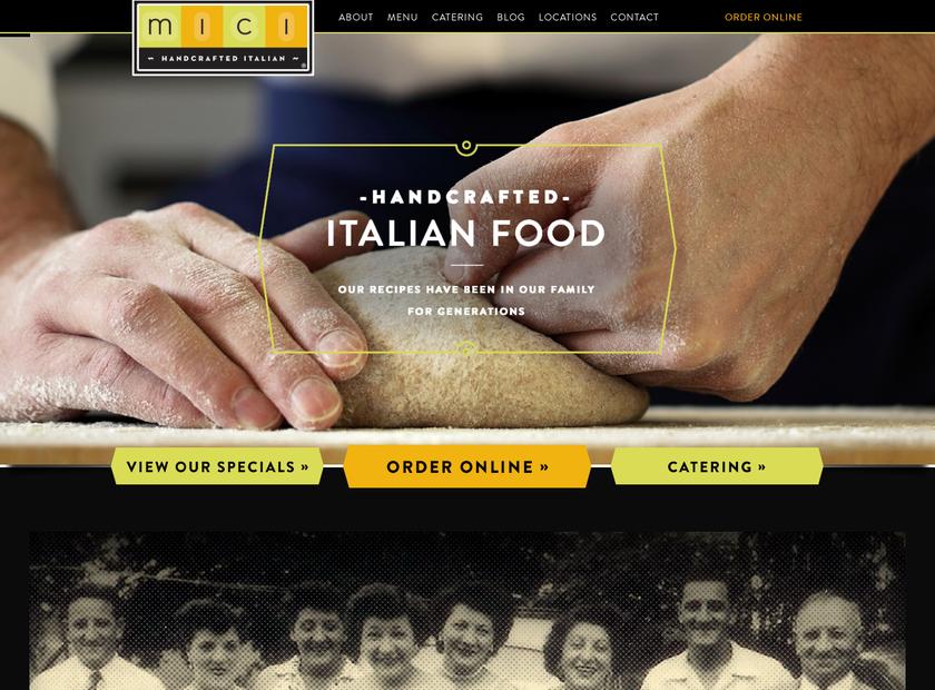 Mici Handcrafted Italian homepage screenshot
