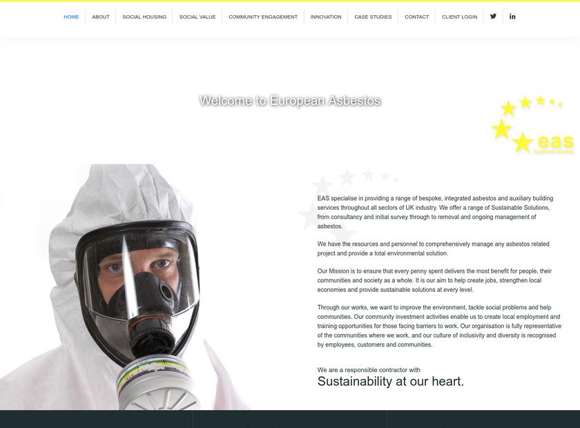 European Asbestos Services Limited homepage screenshot