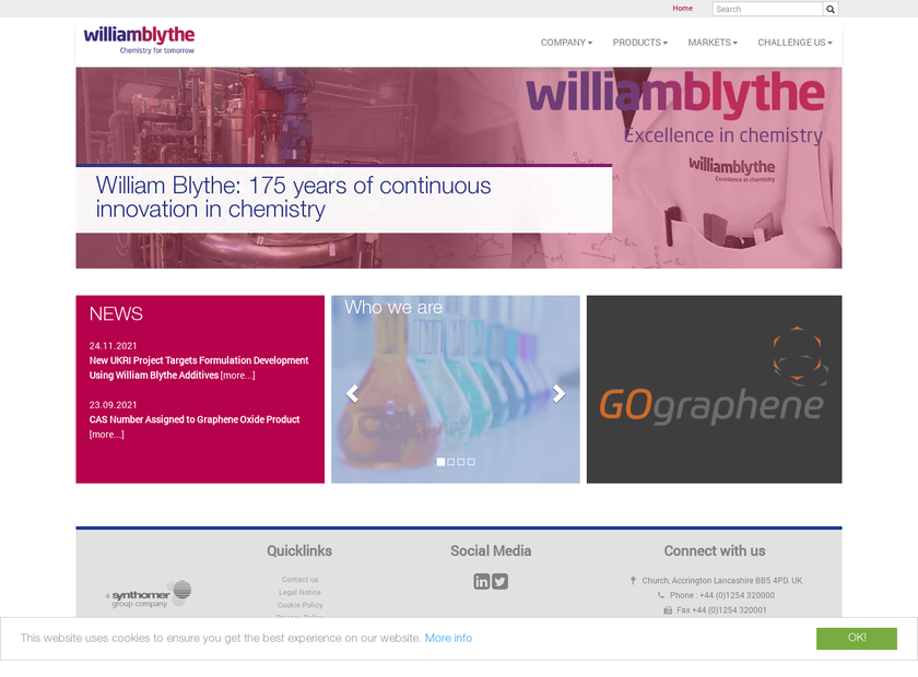 William Blythe Ltd homepage screenshot